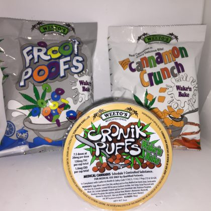 Wake'n'Bake Cereals! Cannamon Crunch, Fruit Poofs, Cronik Puffs! 150mg